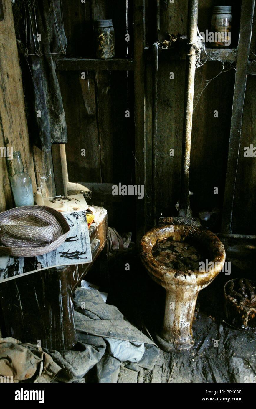 Toilettes délabrées mauvais virage (2003) Photo Stock