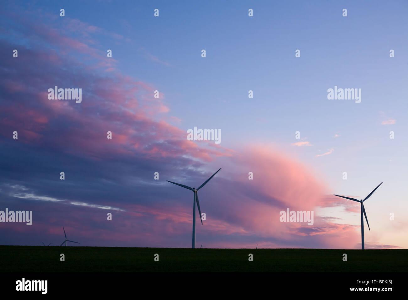 Éoliennes sur Tug Hill Plateau, plus grand projet d'énergie éolienne dans l'État de Photo Stock