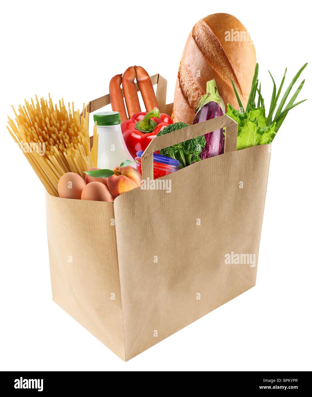 Sac de papier avec de la nourriture sur un fond blanc Photo Stock