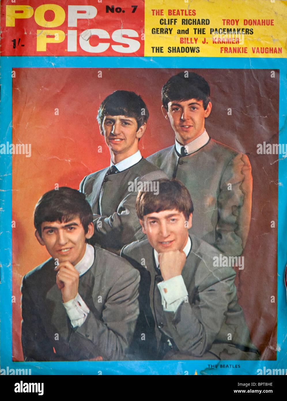 Couverture d'un magazine Photos Sixties Pop pour les Beatles. Photo Stock