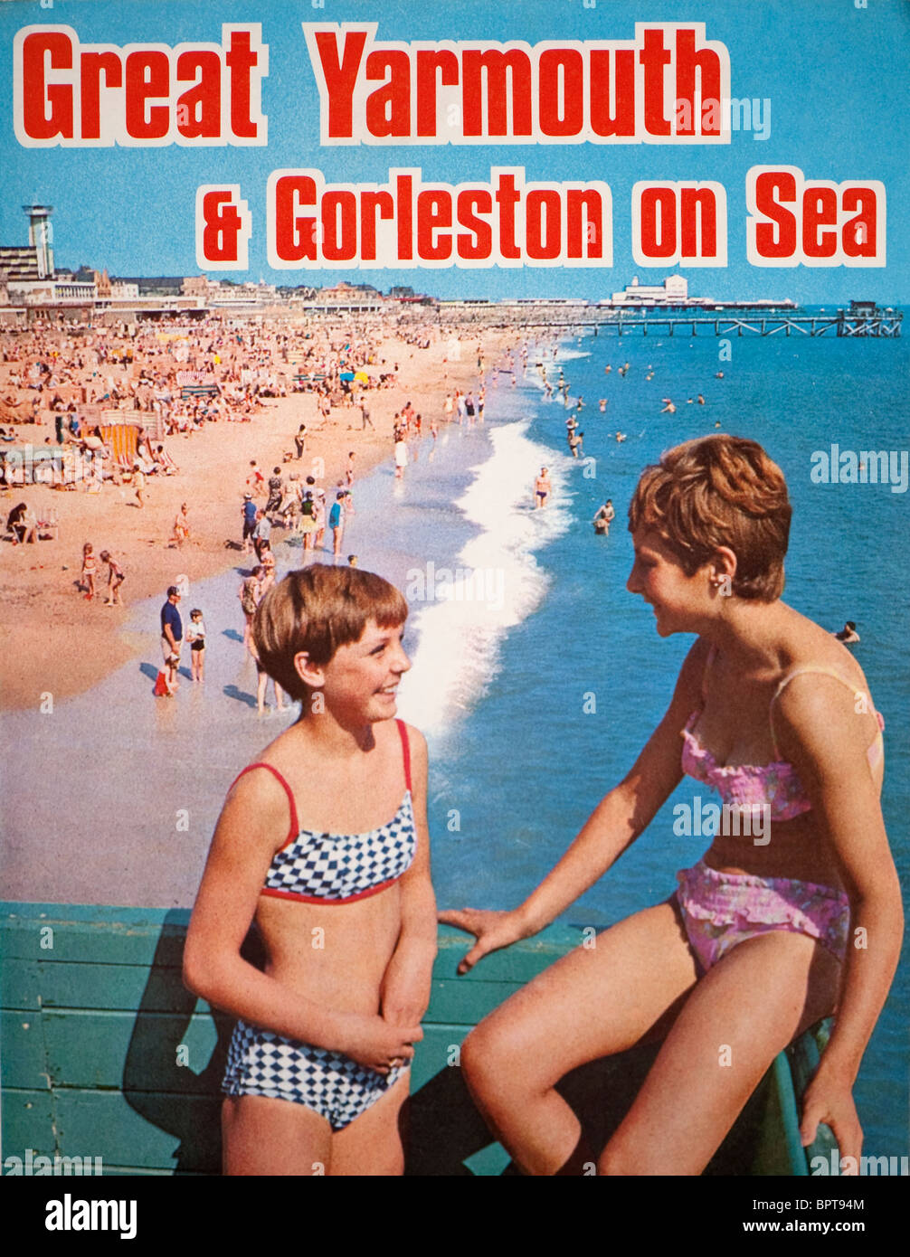 Couvrir d'un Great Yarmouth & Gorleston-On-Sea tour guide brochure publicité. Photo Stock