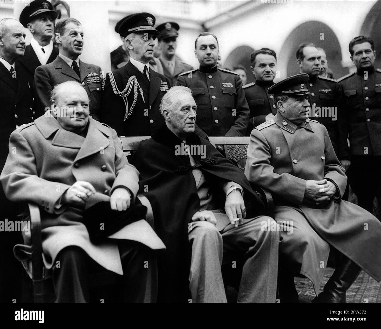 WINSTON CHURCHILL, Franklin D. Roosevelt et Joseph Staline, LES TROIS GRANDS PALAIS LIVADA 11 Février 1945 Photo Stock