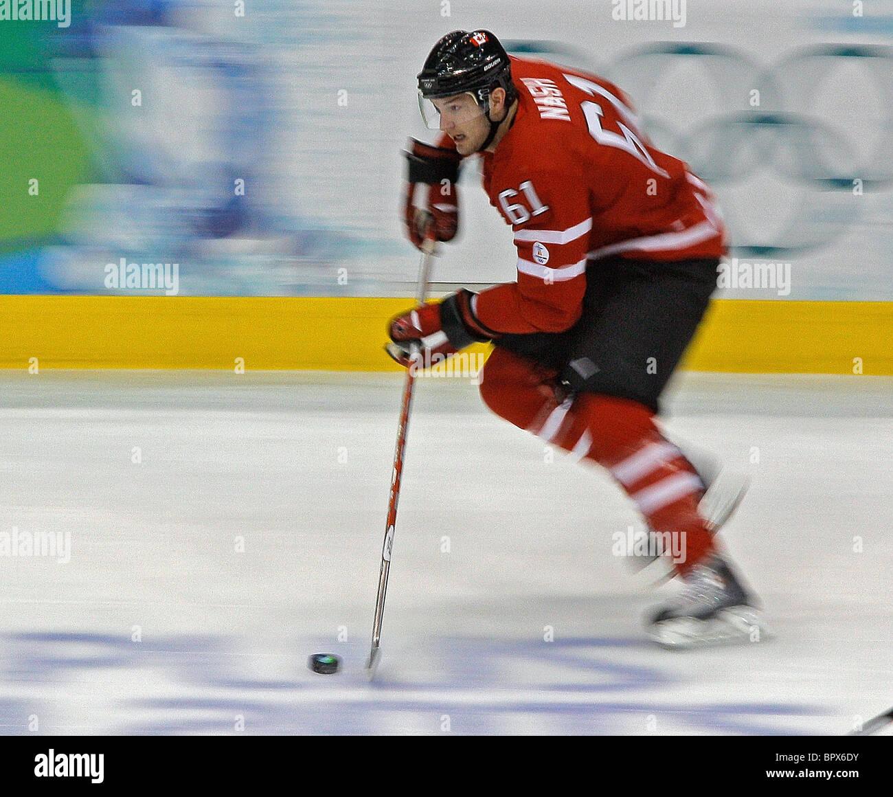 Vancouver 2010: men's hockey sur glace - Canada 3 - 5 USA Photo Stock