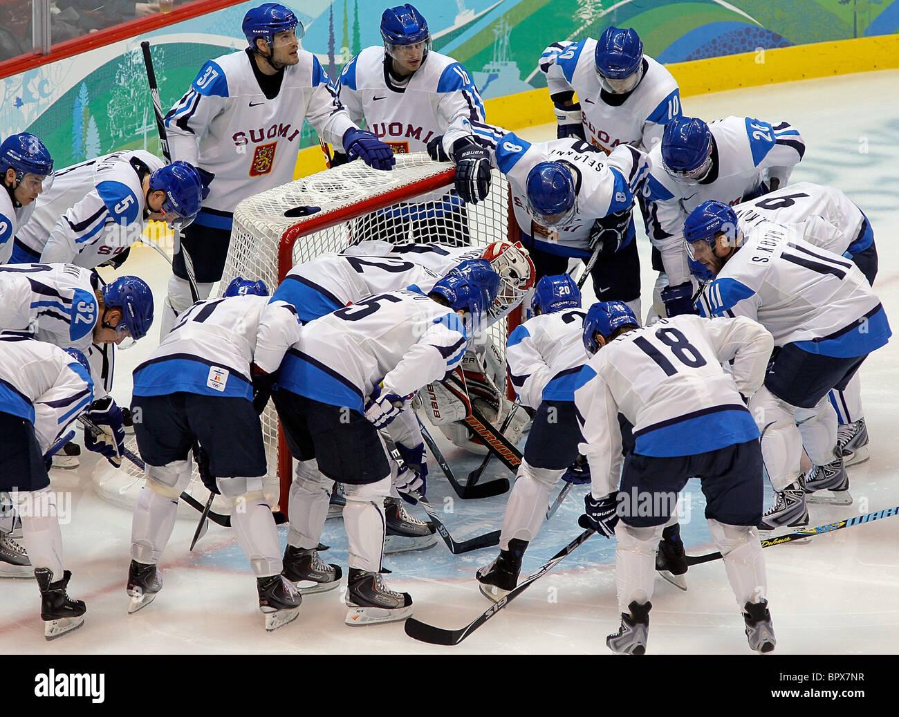 Vancouver 2010: Men's hockey sur glace, la Finlande 5-3 Slovaquie Photo Stock
