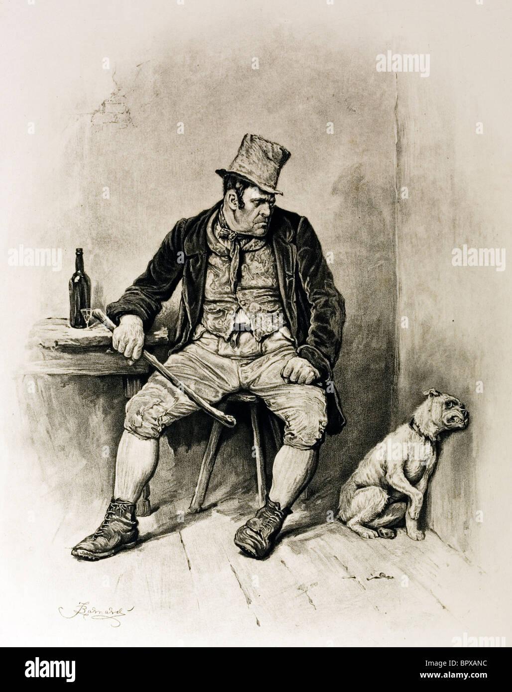 Croquis de caractère Bill Sykes d'Oliver Twist de Charles Dickens. Artiste Frederick Barnard.. Photo Stock
