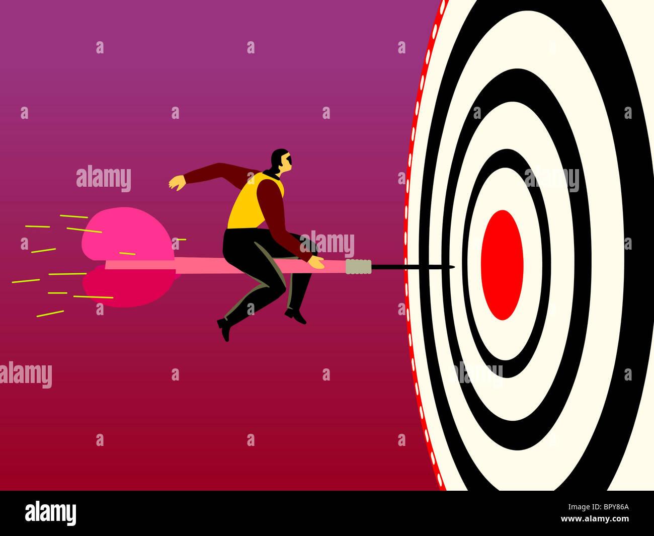 Un homme d'affaires sur un dard qui est dirigé à l'Bulls Eye Photo Stock