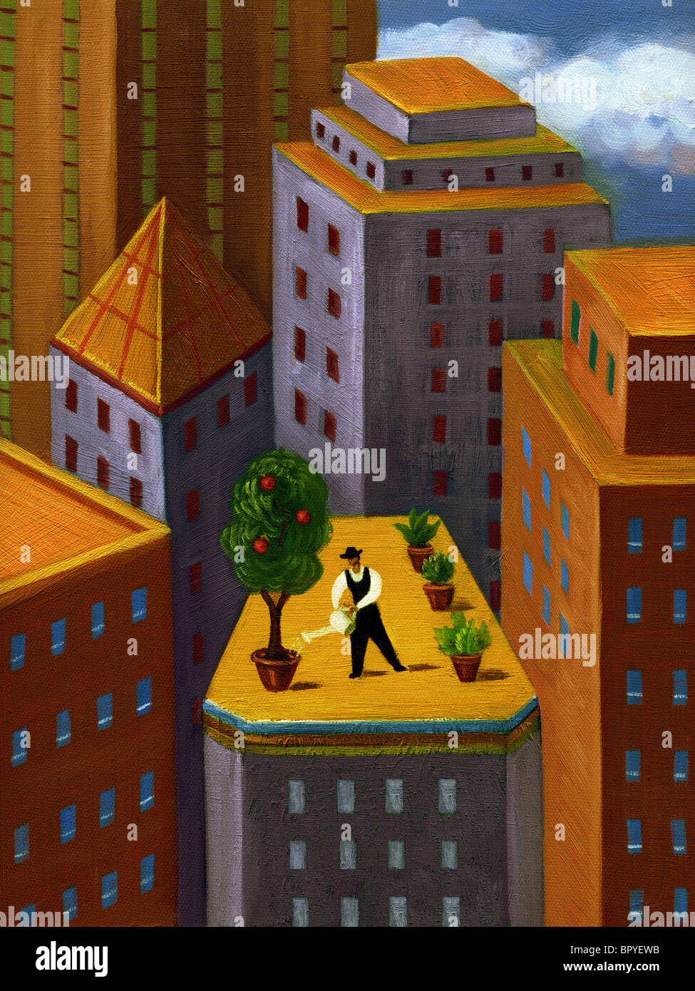 Un homme d'arroser un jardin sur le haut d'un immeuble dans la ville Photo Stock