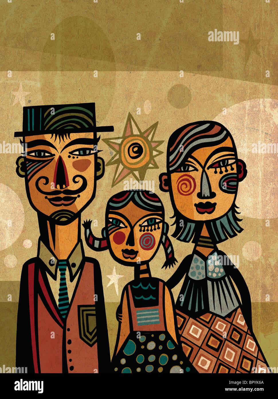 Portrait d'une famille avec enfant unique Photo Stock