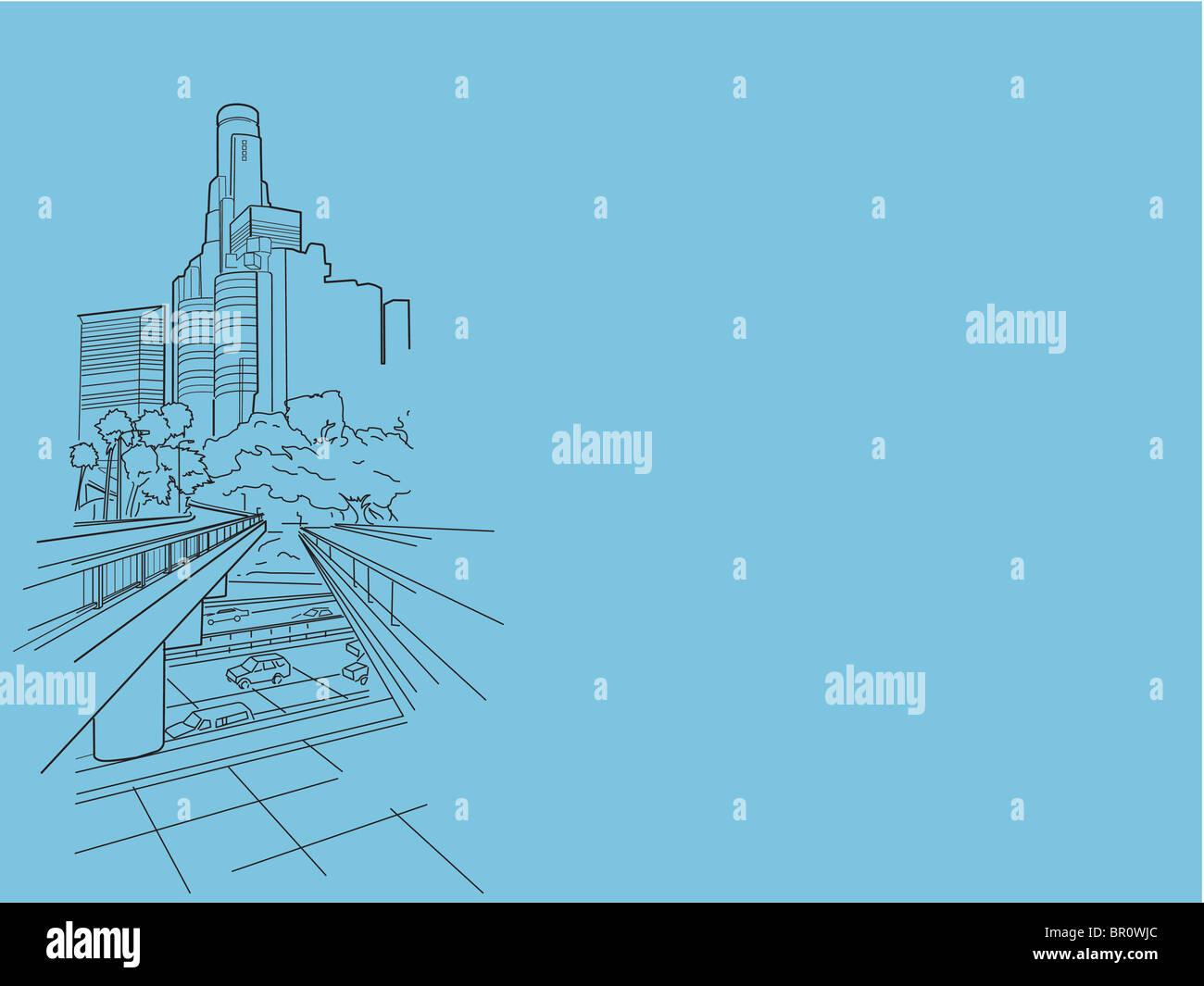 Une illustration d'un centre-ville animé Photo Stock
