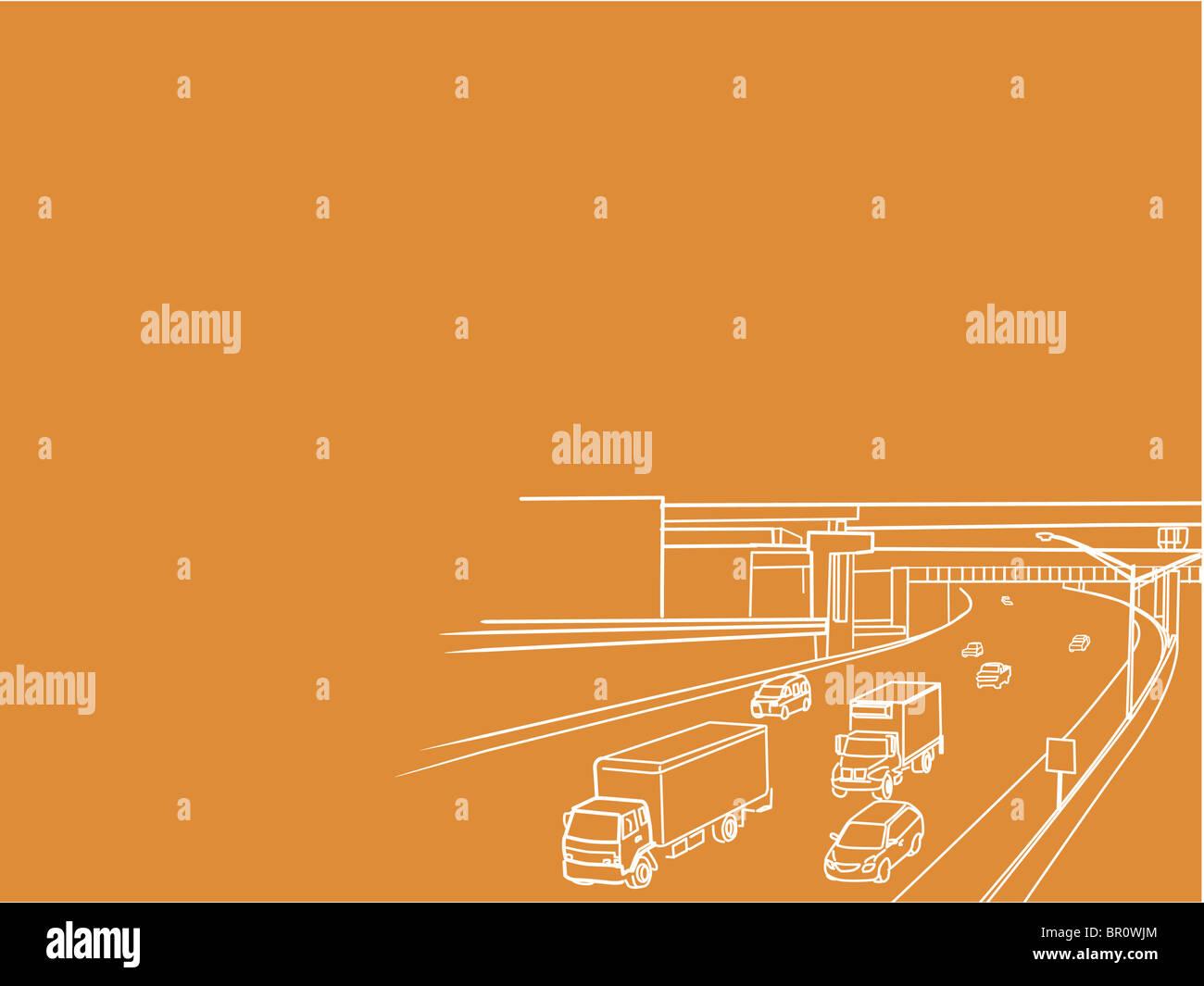 Une illustration d'une autoroute Photo Stock