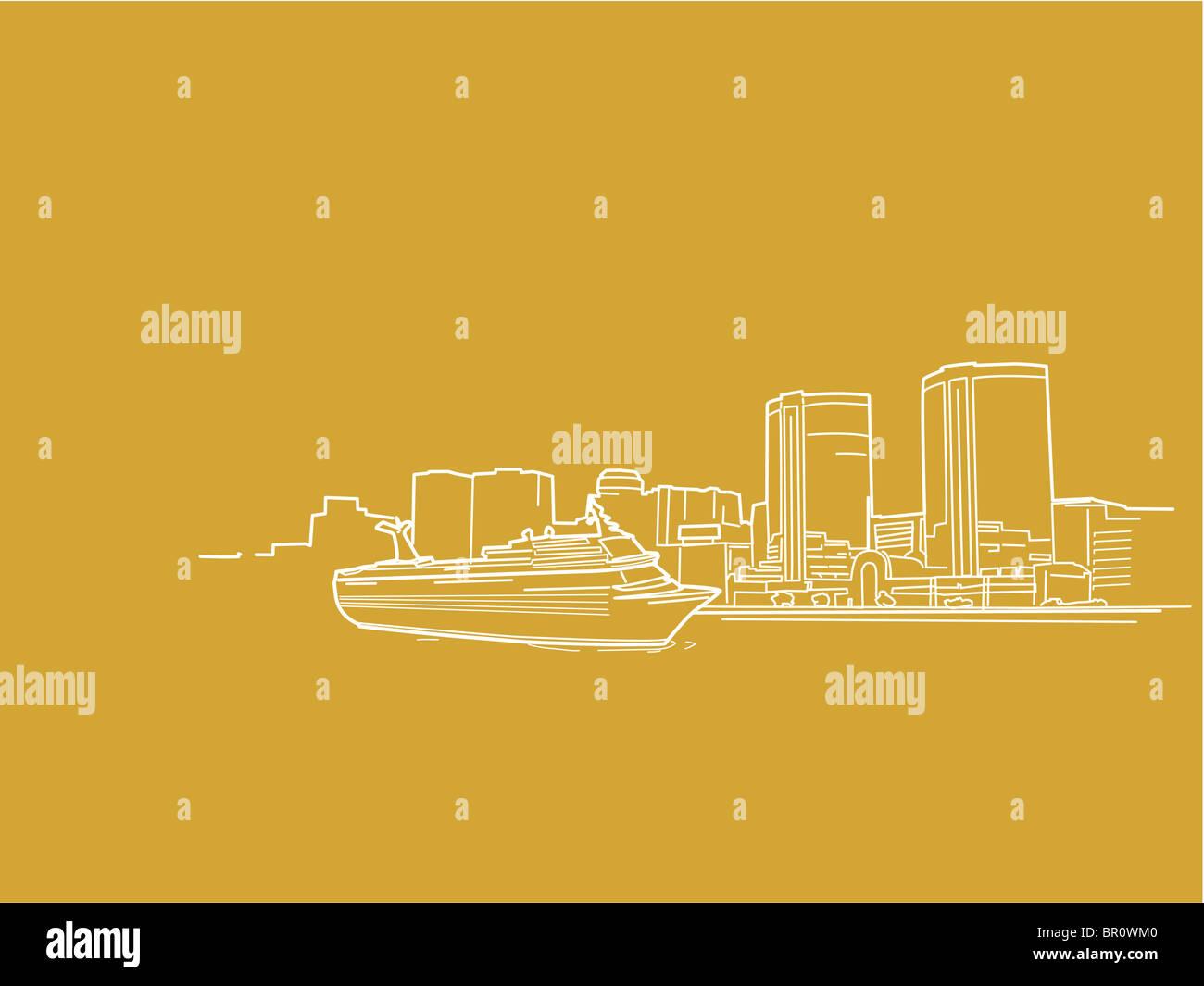 Une illustration d'une croisière sur le port Photo Stock