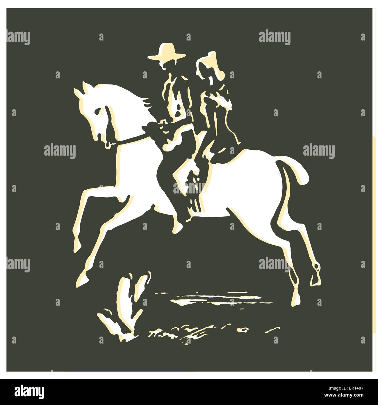Un tirage d'époque d'une femme et d'un cowboy sur un cheval Banque D'Images