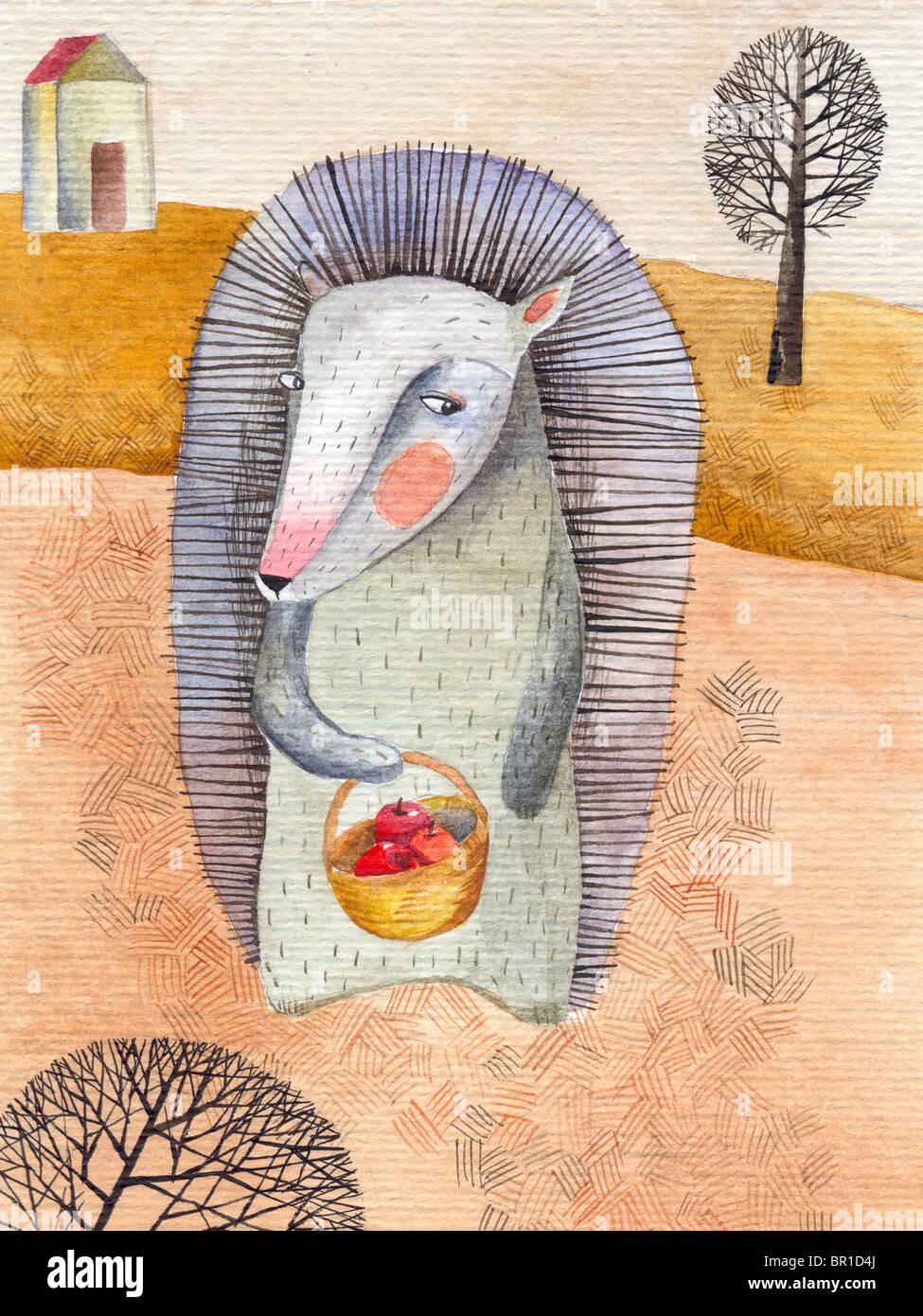 Un hérisson tenant un panier de pommes dans les champs Photo Stock