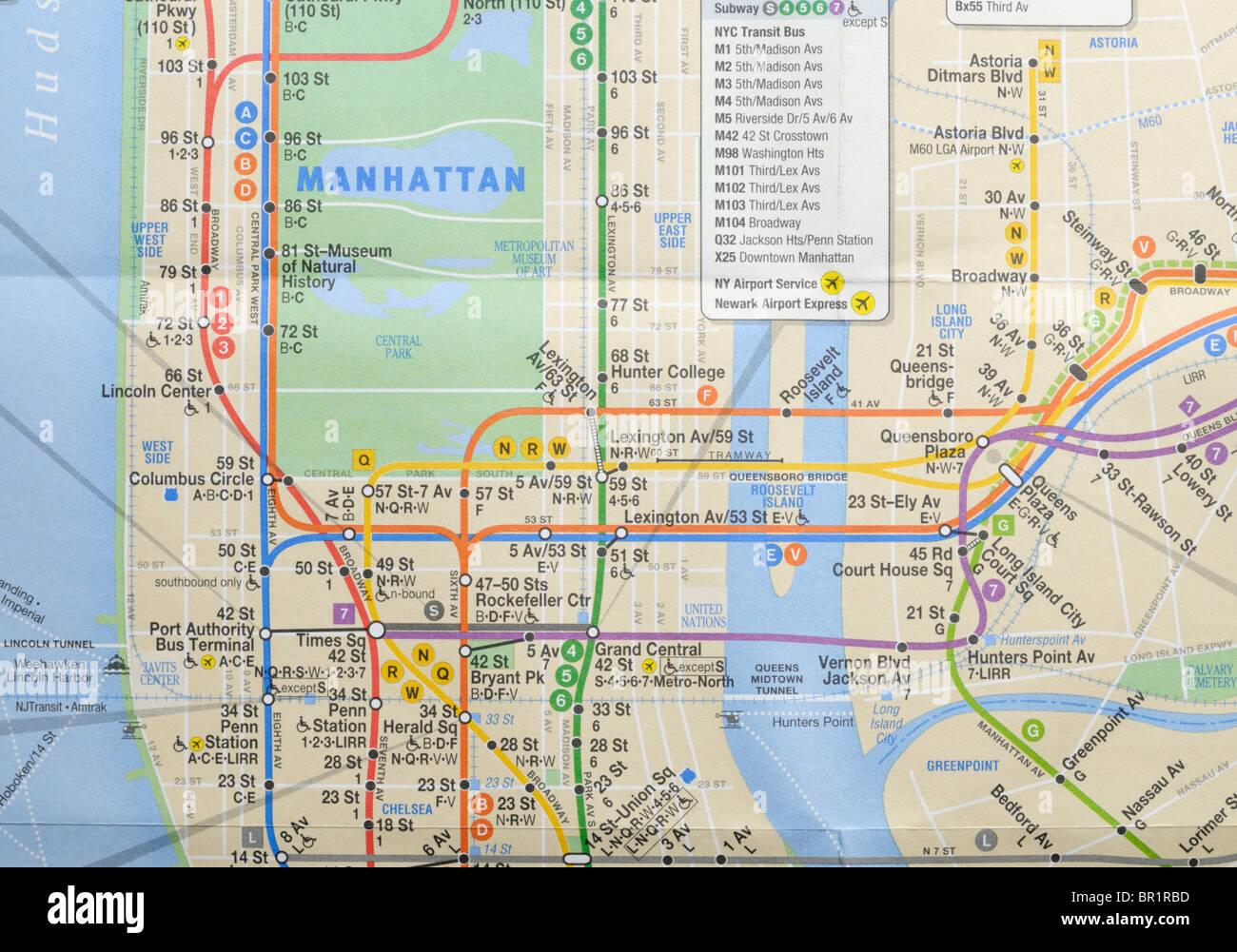 New York City métro et bus Photo Stock
