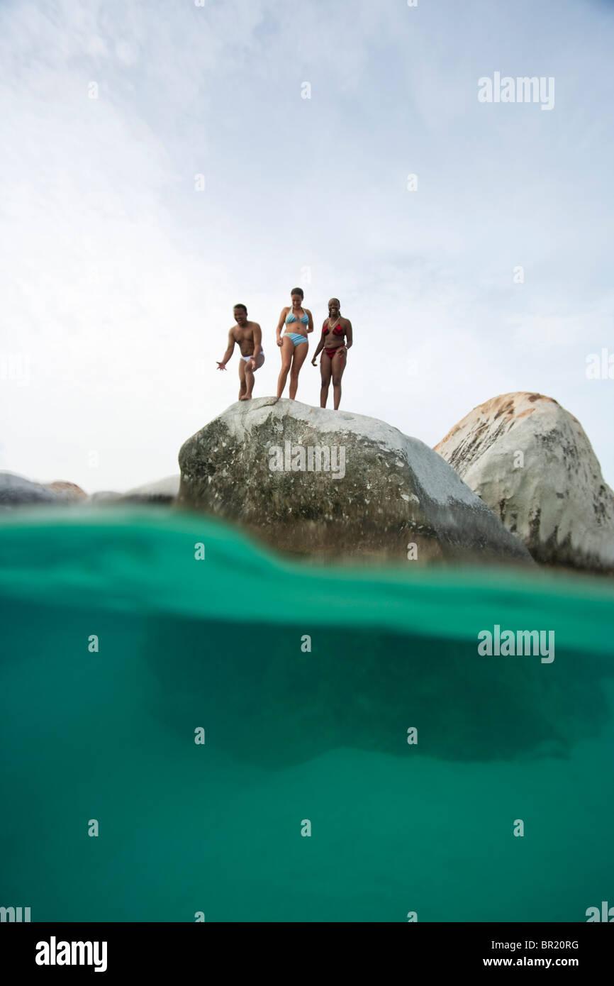 Les personnes, les Bains, Parc National, l'île de Virgin Gorda, îles Vierges britanniques, les Caraïbes Photo Stock