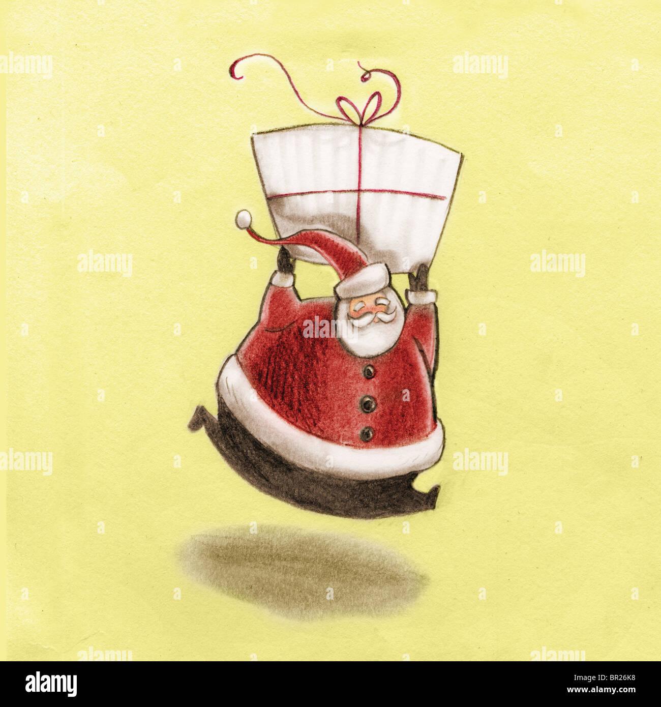 Santa Claus holding un géant présent au-dessus de sa tête Photo Stock