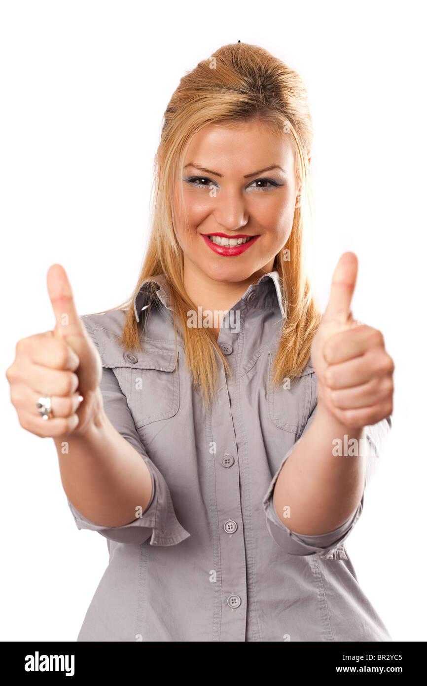 Busineswoman attrayante avec deux pouces vers le haut, isolated on white Photo Stock