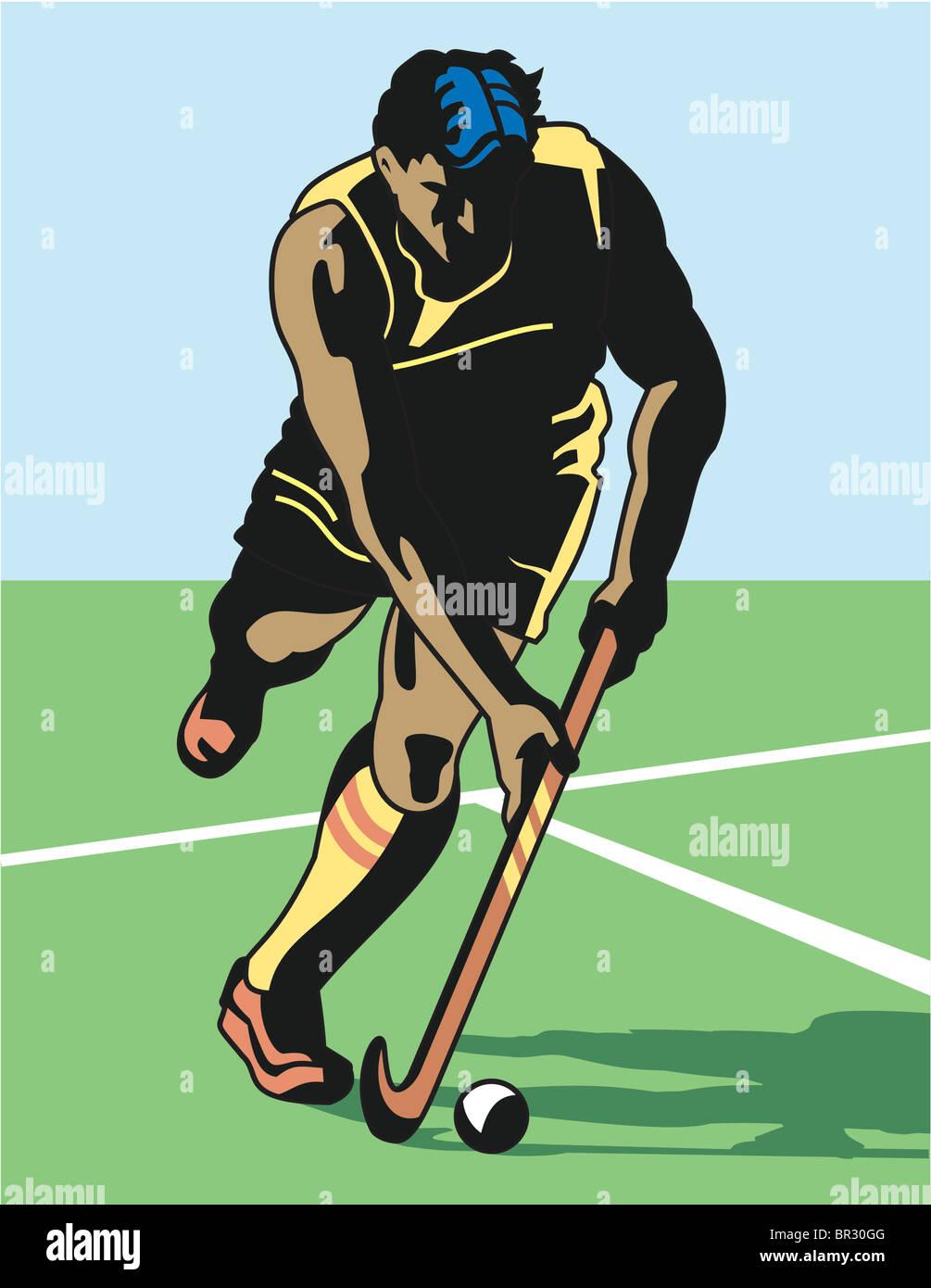 Un homme jouant le hockey Photo Stock