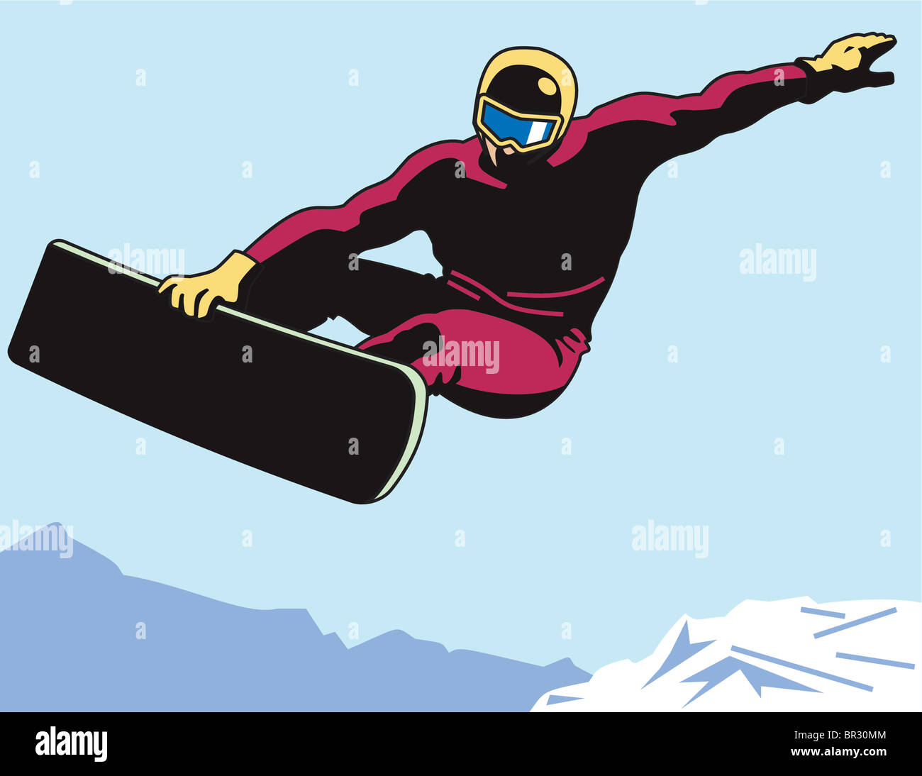 Un homme snowboard Photo Stock