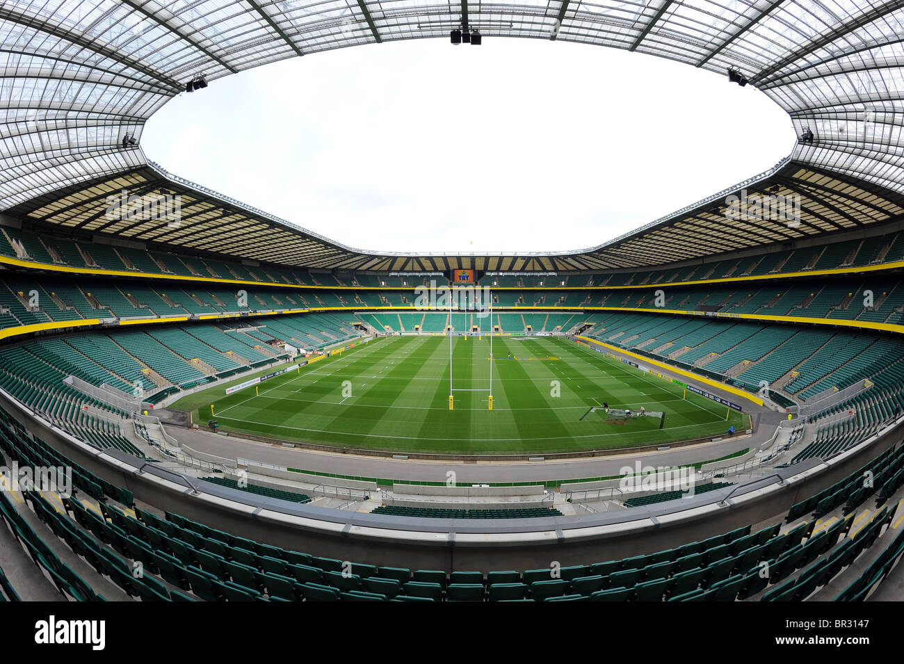 Vue à l'intérieur du stade de Twickenham, London, Londres. Accueil de la Rugby Football Union RFU Photo Stock