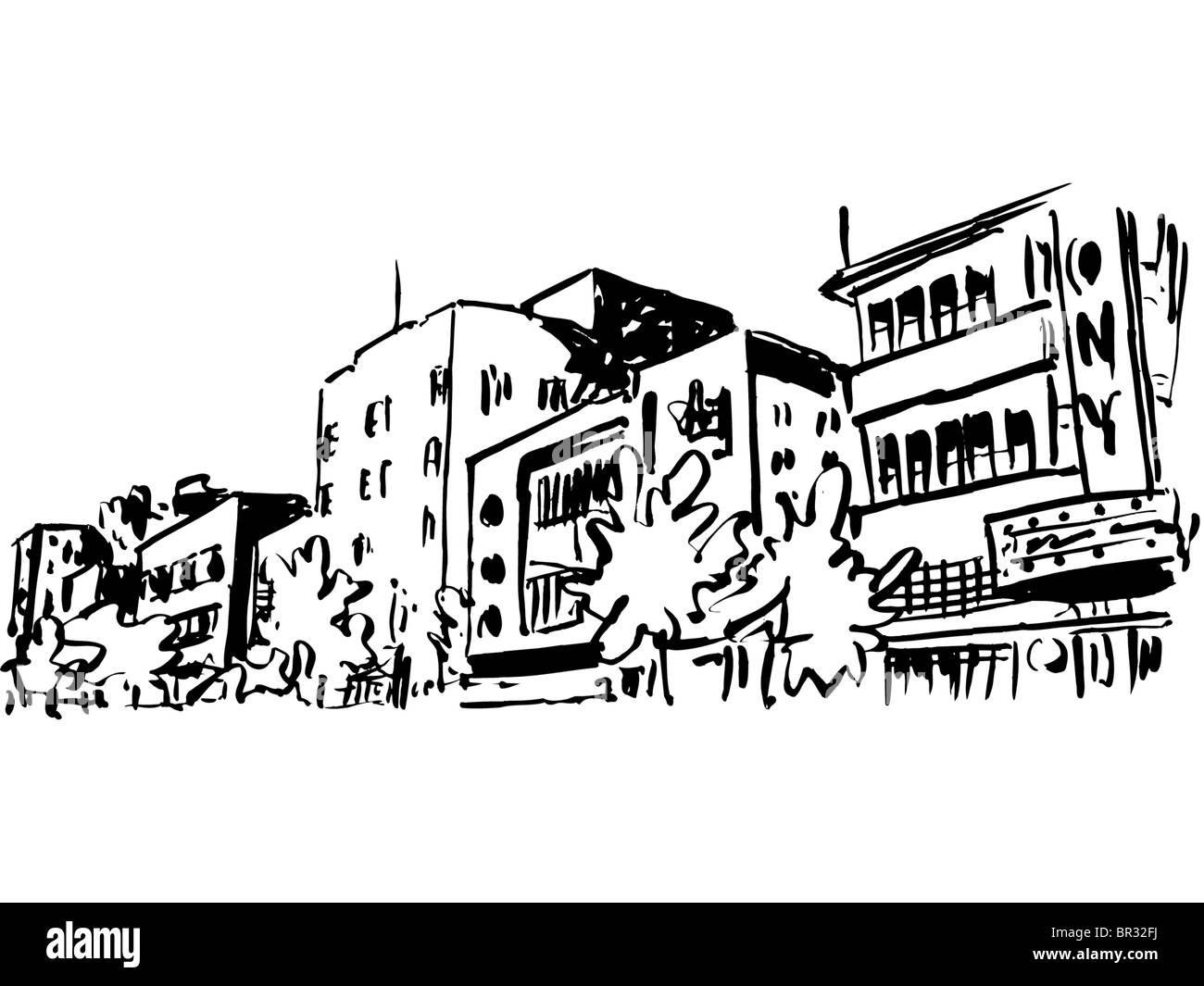 Un Dessin En Noir Et Blanc Des Immeubles Dappartements Dans