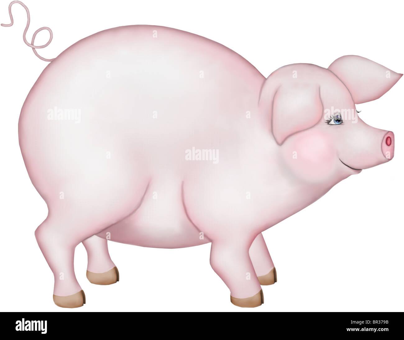 Un dessin d'un cochon robuste Photo Stock