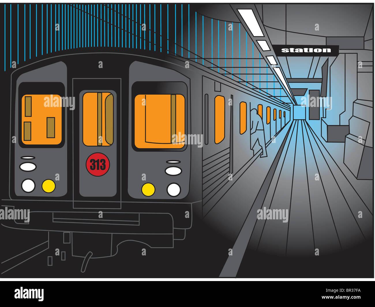 Une scène dans la station de métro Photo Stock