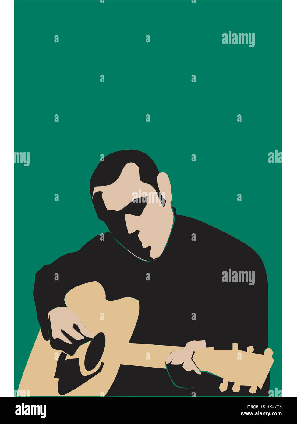 Un homme jouant de la guitare Photo Stock