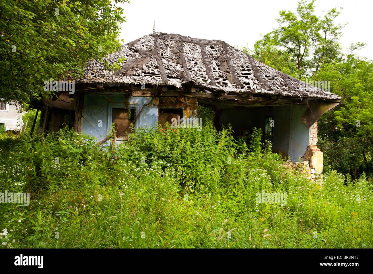 Ancienne maison en ruines couvertes de végétation Banque D'Images