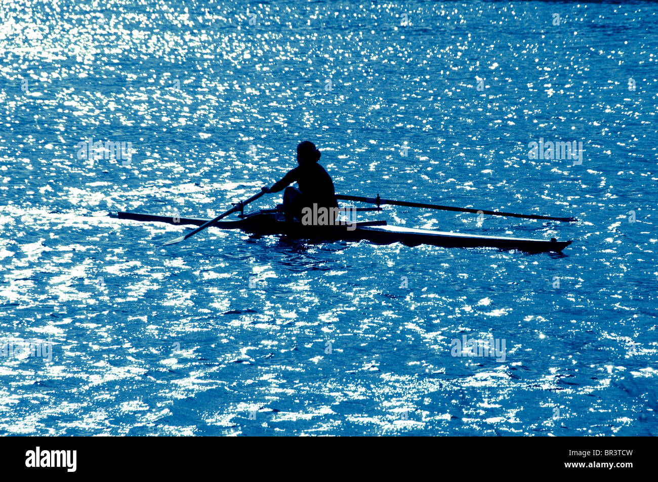 L'aviron de l'athlète Photo Stock