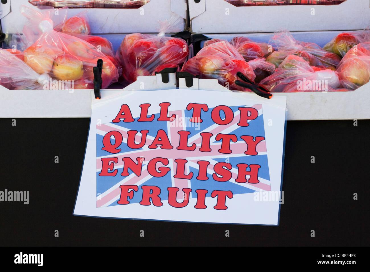 Un décrochage vendre des pommes au Vanfest dans les collines de Malvern Photo Stock