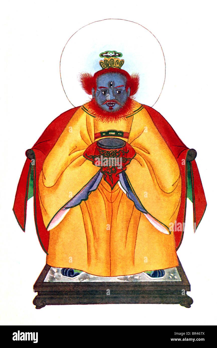 N la mythologie Chinoise, Wen Chung , illustré ici aux trois yeux, est honoré comme le ministre de Thunder. Photo Stock