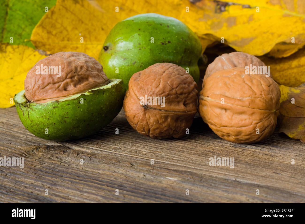 L'automne les noix sur planche de bois Photo Stock