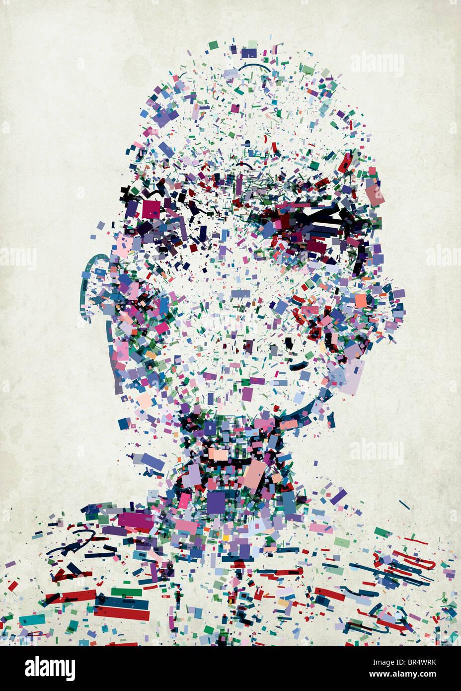 Résumé Une illustration d'une tête de personnes composée d'une collection de fragments Photo Stock