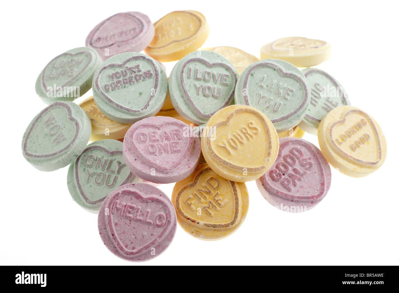 Tas de bonbons coeurs amour Photo Stock