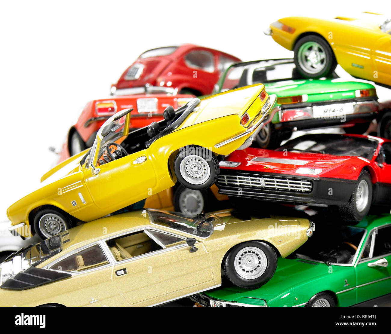 Close up, tas de voitures modèle miniature. Photo Stock