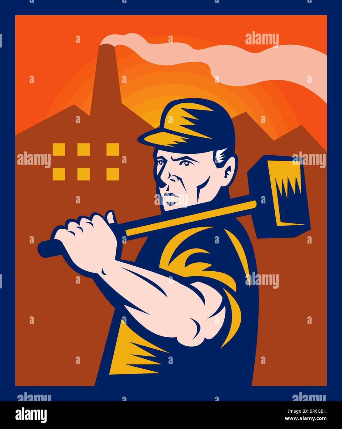 Employé d'usine avec marteau avec des bâtiments en arrière-plan fait en style retro illustration Photo Stock