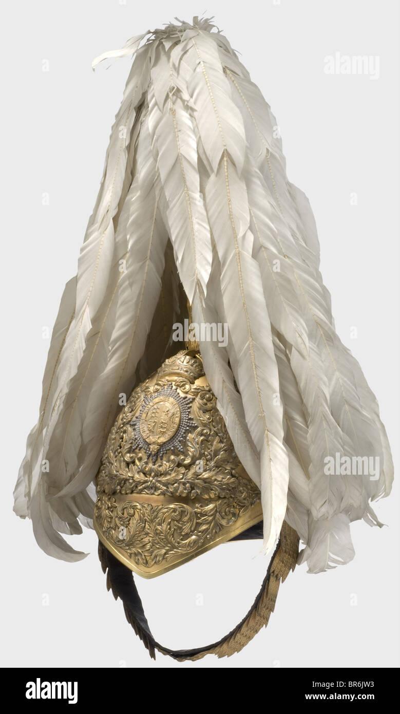 Un bon casque pour les officiers de l'Honorable Corps des gentilshommes en armes., tombac doré crâne Photo Stock