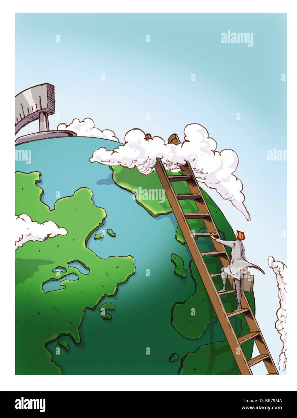 Businesswoman grimper une échelle pour atteindre le sommet du monde Photo Stock