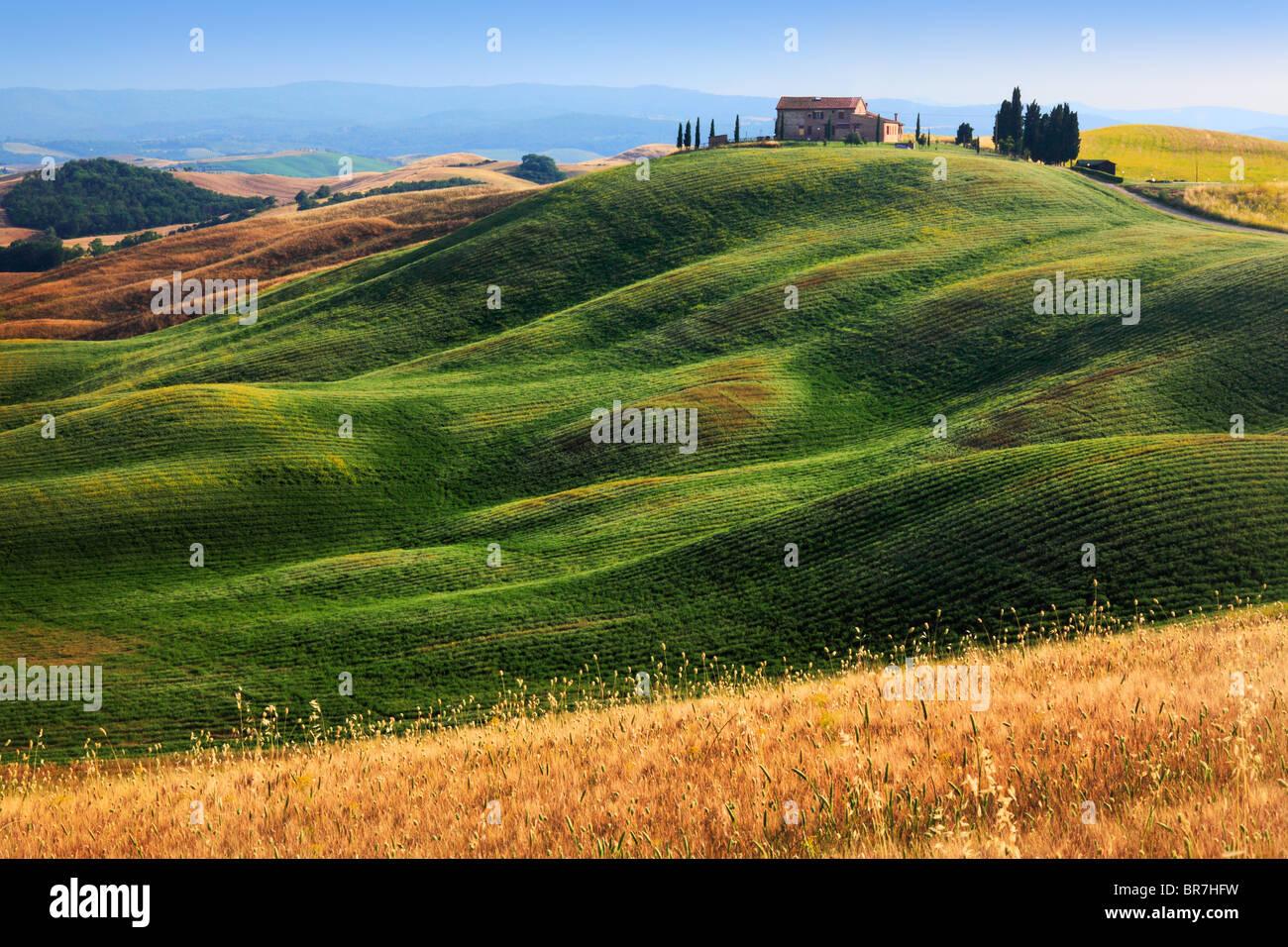 Villa colline près de Asciano dans centre de la Toscane, Italie Photo Stock