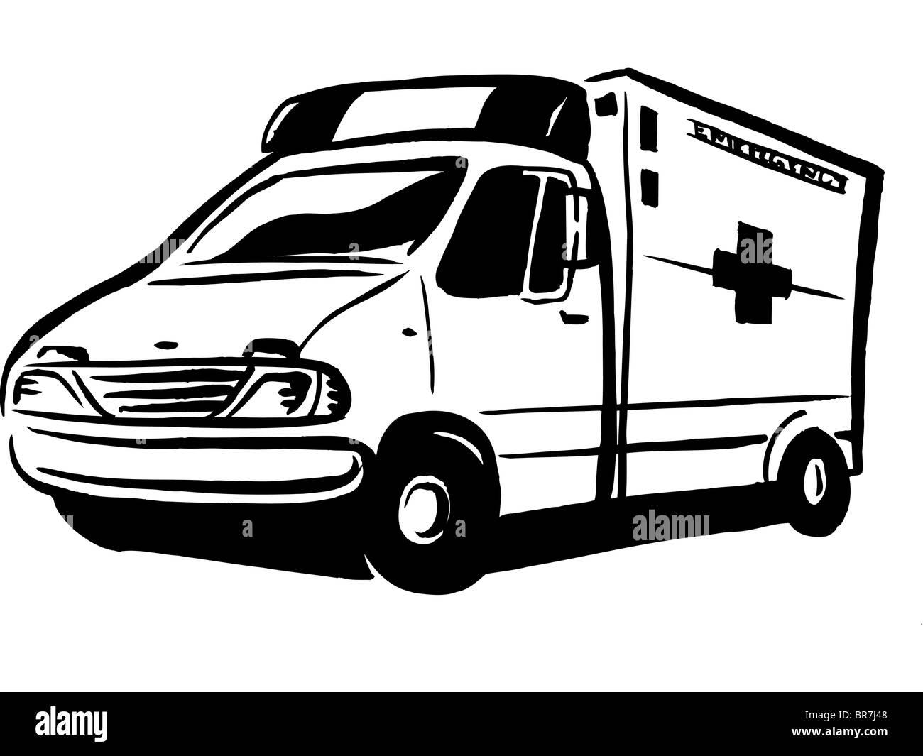 Dessin En Noir Et Blanc D Une Ambulance Photo Stock Alamy