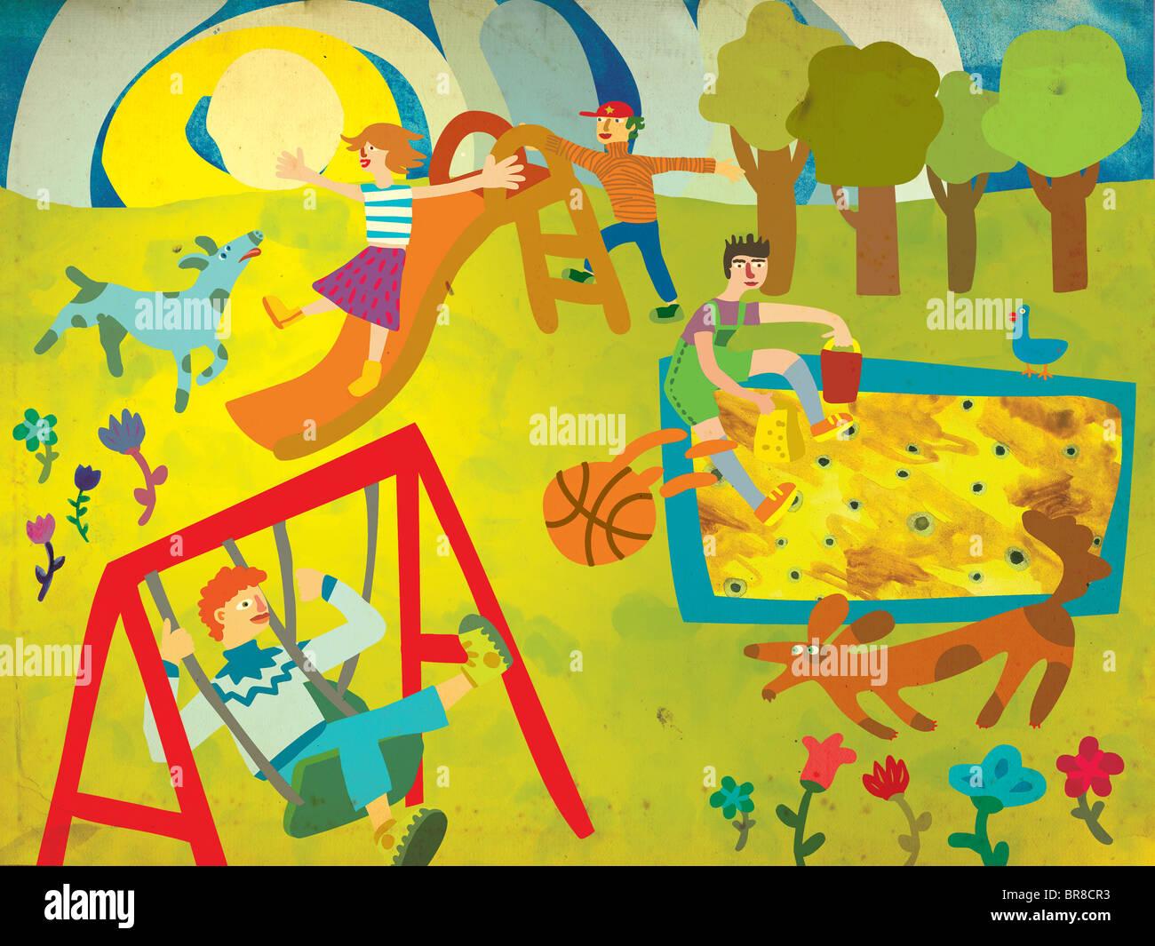Enfants jouant sur une aire de jeux avec leurs chiens Banque D'Images