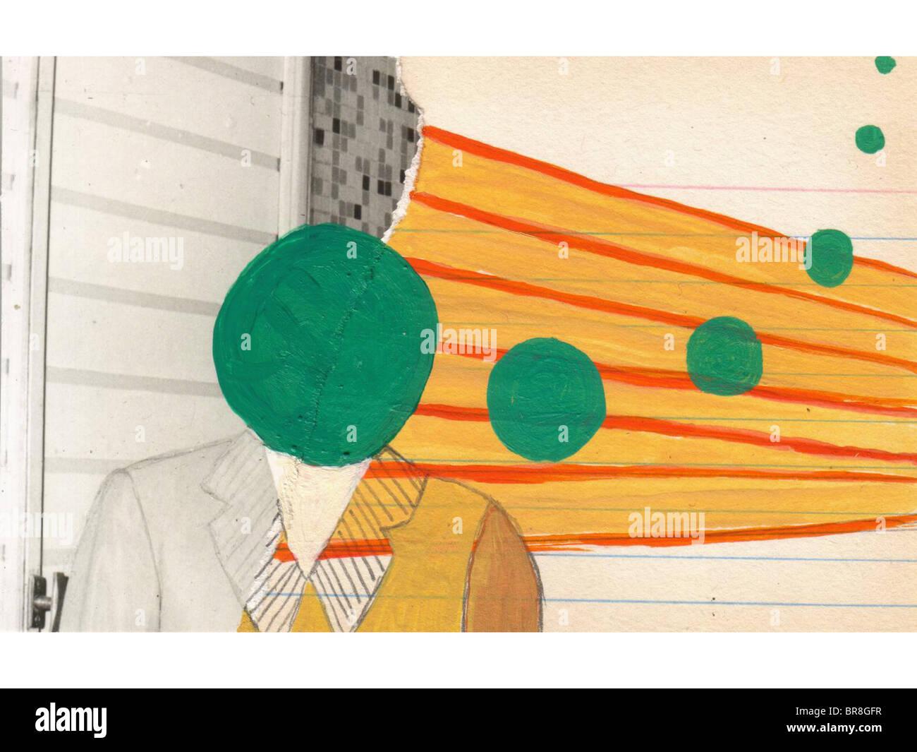 La peinture et la vintage photo collage d'un homme d'affaires Photo Stock