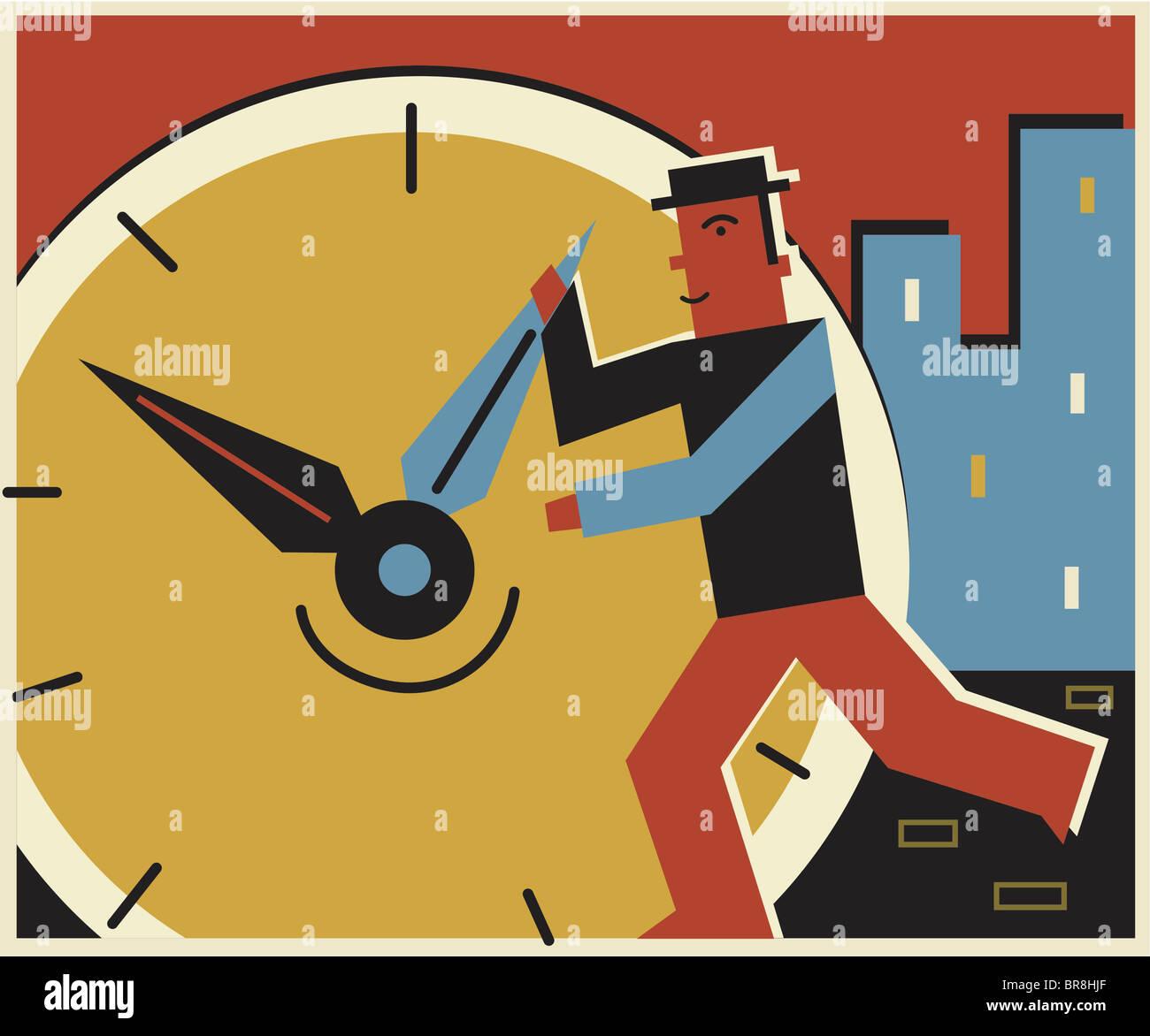 Un homme de changer l'heure d'une horloge Photo Stock
