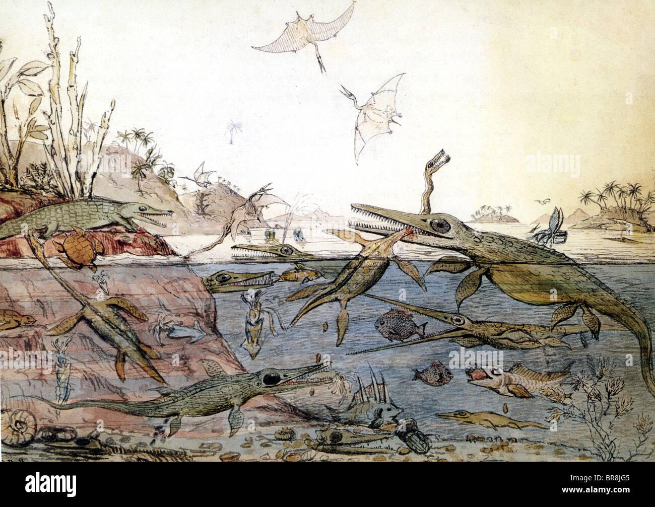 DURIA ANTIQUIOR 'ancienne' Dorset aquarelle peinte en 1830 par Henry De La Beche basé sur les fossiles Photo Stock