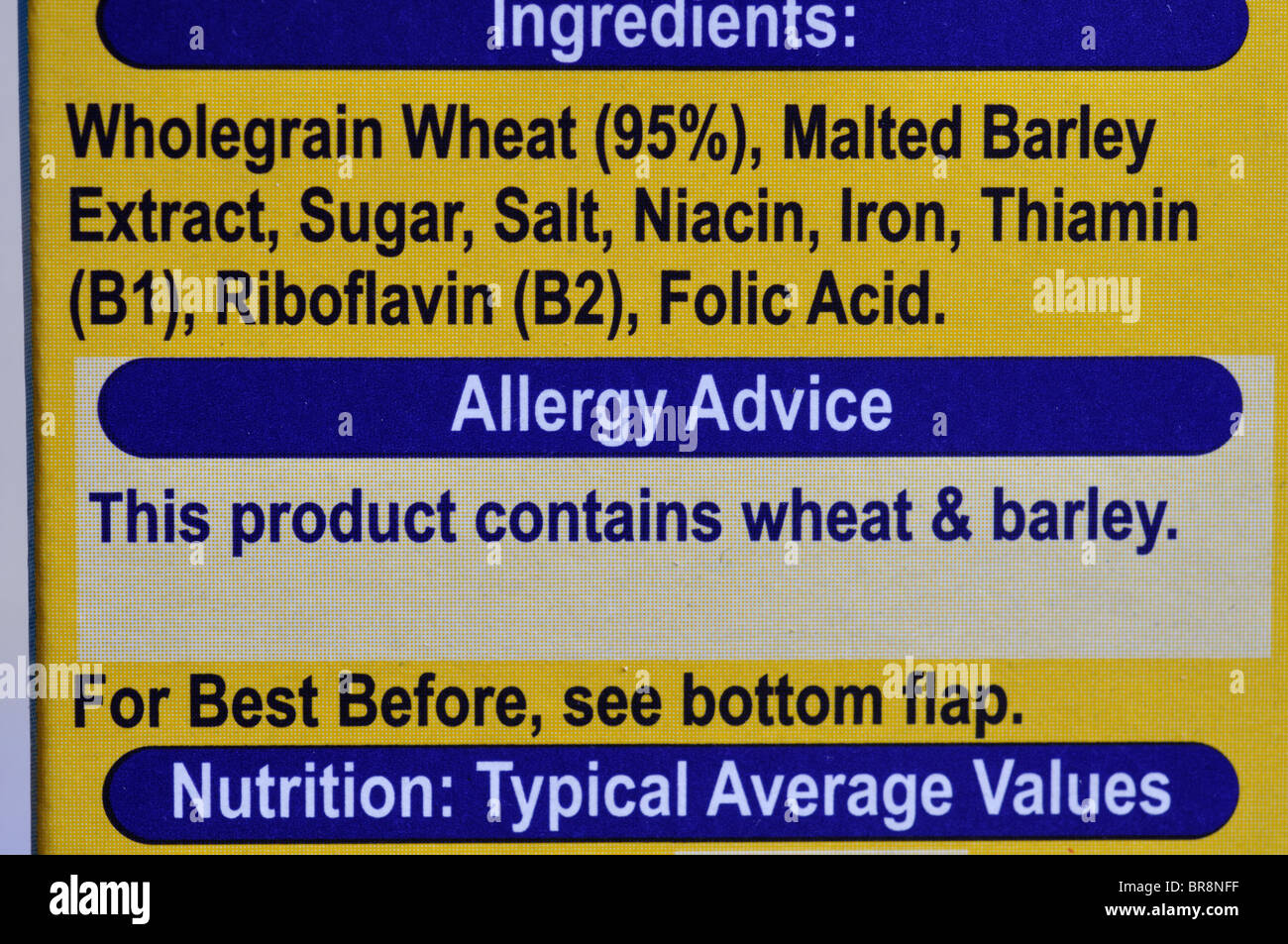 Conseils d'allergie sur les emballages alimentaires Photo Stock