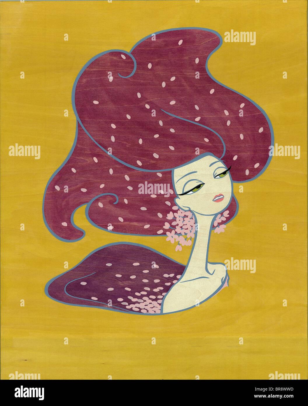 Une peinture sur une toile de bois d'une femme avec des cheveux violet robuste Photo Stock