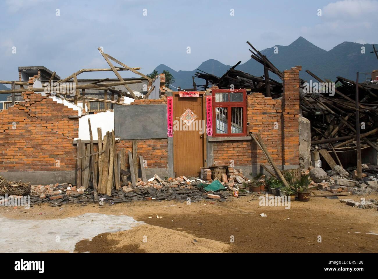 Maisons détruites par un séisme en Chine Canton Pingan. Photo Stock
