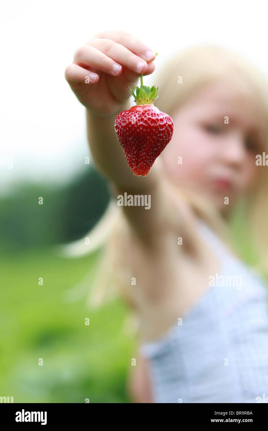 Petite fille dans un champ de fraises Photo Stock