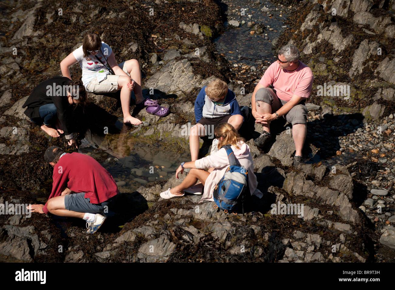 Vacances de banque lundi - une famille à la piscine dans les rochers Aberystwyth Wales UK Photo Stock